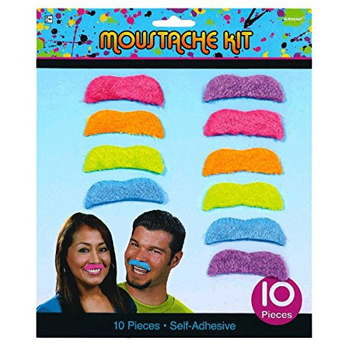 Awesone 80's Party Assorted Color Mustaches Accessory, Fabric, 2