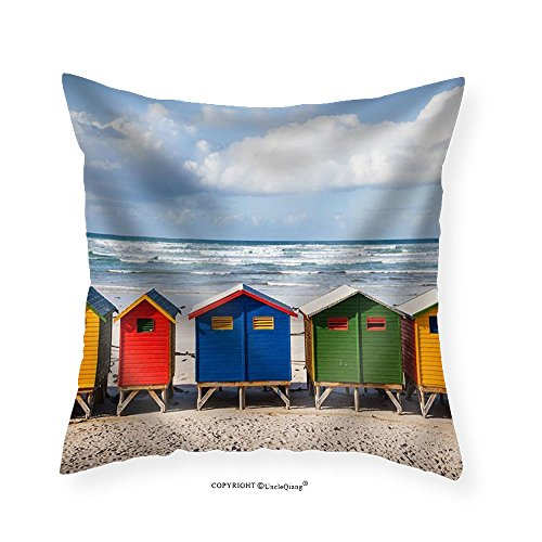 VROSELV Custom Cotton Linen Pillowcase Row of Brightly Colored Huts in Muizenberg Beach. Muizenberg Cape Town. South Africa - Fabric Home Decor 20