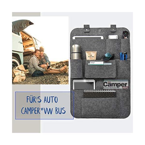 51ptfY9wNtL IXXMIND® auto organizer, Wohnmobil Zubehör, autositzschoner, rückenlehnenschutz auto kinder, rücksitztasche, hängeregal…