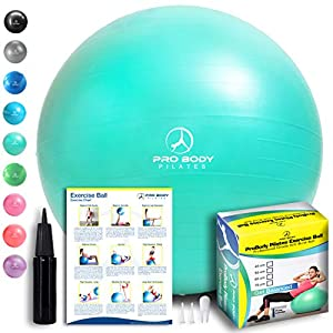 Exercise Ball – Professional Grade Anti-Burst Fitness, Balance Ball for Pilates, Yoga, Birthing, Stability Gym Workout Training and Physical Therapy