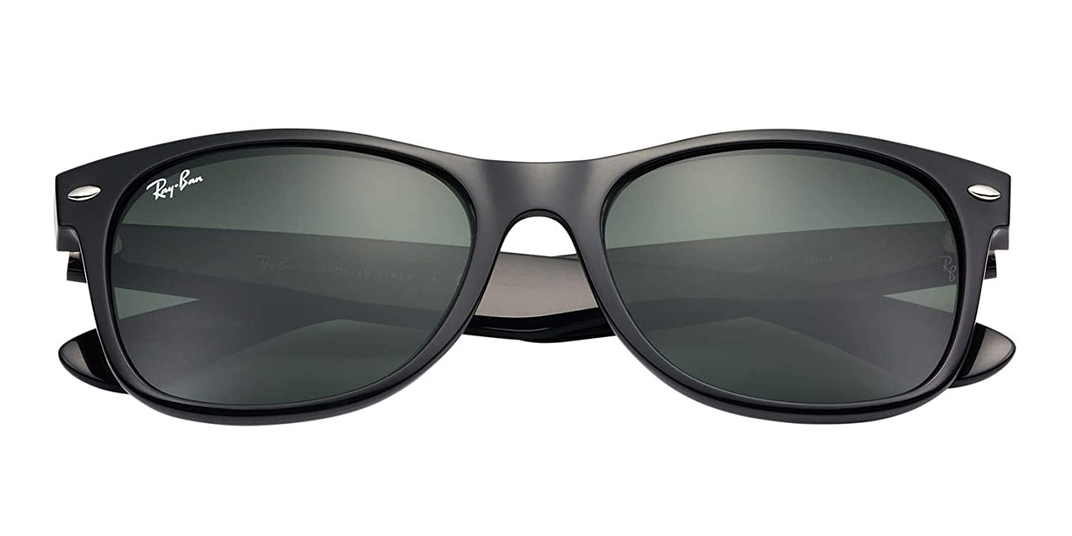 516e0485f7 Amazon.com  Ray Ban Wayfarer BLACK Rubber RB2132 Color 622 58 Polarized  55mm  Clothing