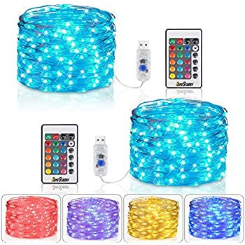 Homestarry Fairy Lights USB Plug String Lights with Remote 33 ft Color Changing Lights 100 LED's Twinkle Firefly Lights for Bedroom Party Wedding Christmas Tapes (2 Sets Multicolor 16 Color USB Plug)