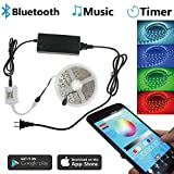Led Strip Lihgts 16.4ft 12V SMD 5050 RGB 300 Leds Color Changing Waterproof Decoration Lighting Strips Kit with Bluetooth App Controlled for iPhone Android