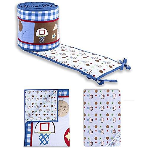 Dream On Me Little Athlete 3 Piece Crib Set, (All Star Crib Bedding)