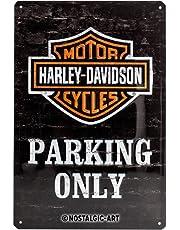 Nostalgic-Art Retro Tin Sign – Harley-Davidson Parking Only – Gift idea for motorcycle fans, Metal Plaque, 20 x 30 cm