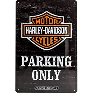 Nostalgic-Art Harley Davidson Parking Only Placa Decorativa, Metal, Negro y Naranja, 20 x 30 cm