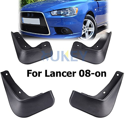 XUKEY Auto Molded Splash Guards for Mitsubishi Lancer Sedan DE ES 08ON Mud Flaps - Front & Rear 4 Pieces Set