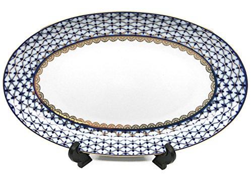 OKSLO Oval serving platter 12 lomonosov porcelain, russian cobalt blue net, 24k gold