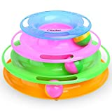 Ohuhu Ball Track for Kitten, Interactive Toys for Kitten with Rainbow 4-Color 3-Level Tracks and Bi-color Balls with Rustling Beads, Pets Kitty Tower Toy