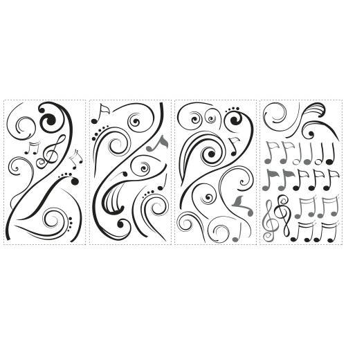 Roommates RMK2083SCS Music Scroll Decals