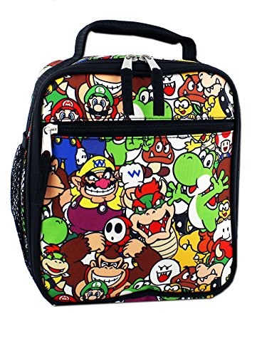 Super Mario Boys Girls Soft Insulated School Lunch Box (Black/Multi) -