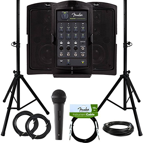 Fender Passport Conference Portable PA System Bundle with Microphone, Compact Speaker Stands, XLR Cable, and Instrument Cable