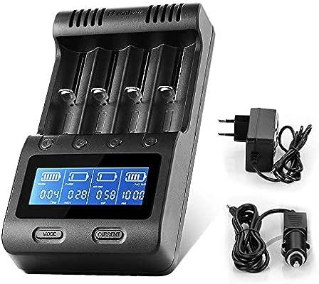 Zanflare Cargador C4 Inteligente, Pantalla LCD Cargador de Batería Universal Rápido, Tenga recuperación de baterias dañadas y para Baterías ...