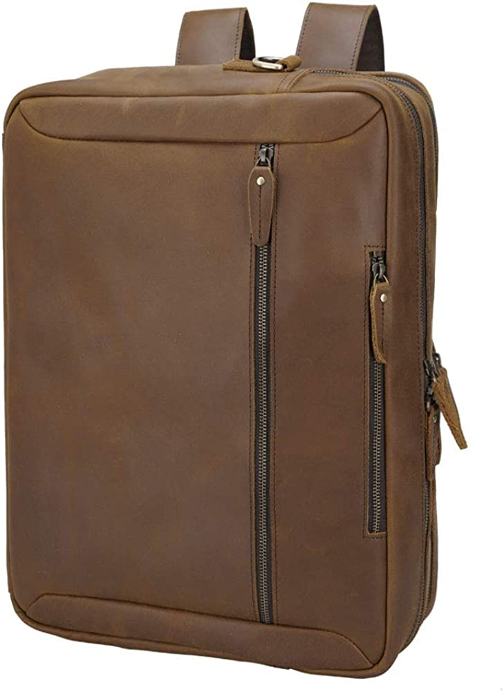 Tiding Convertible Leather Briefcase Backpack 17 Inch Laptop Case Business Messenger Shoulder Bag