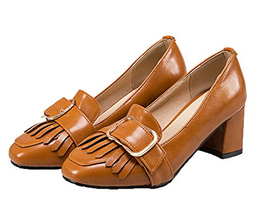 Amoonyfashion Dames Pu-hakken Vierkante Neus Stevige Pull-on Pumps-schoenen Geel