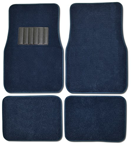 Blue Car Mats - BDK Classic Carpet Floor Mats for Car & Auto - Universal Fit -Front & Rear with Heelpad (Blue)