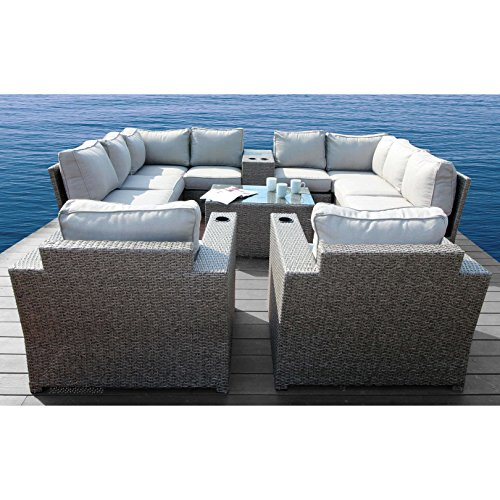 Aluminium Outdoor Furniture - Chelsea Collection Outdoor Seating Aluminium Frame Furniture for Garden,Backyard,Pool with Cushioned Seat by Century Modern Outdoor (12 Piece Conversation Sectional Club Set)