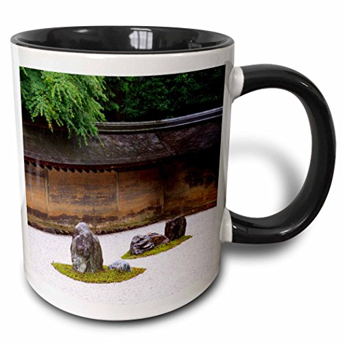 3dRose Danita Delimont - Kyoto - Rocks and raked gravel at Zen garden, Ryoan-Ji Temple, Kyoto, Japan. - 11oz Two-Tone Black Mug (mug_247635_4) (Ryoanji Temple Kyoto Japan)