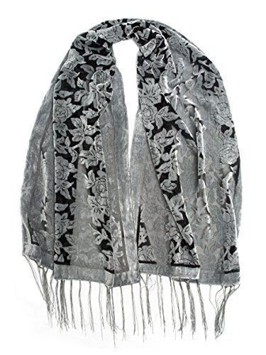 Bohomonde Beatrice Scarf, Gray Floral Burnout Fringe Scarf Charcoal ()