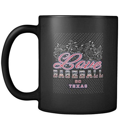 Love Baseball Go Texas Fan Gifts Diamond Plate Cool Black 11oz Mug