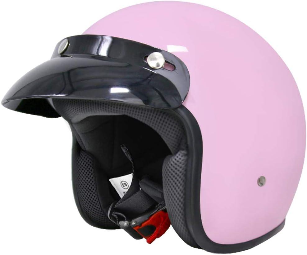 55-56cm Leopard LEO-604 Offenes Gesicht Jethelm Motorradhelm Jet Motorrad Roller Helm Scooter-Helm Chopper Mofa ECE Zertifiziert Visier Extra kleine Helmschale #4 Rosa S