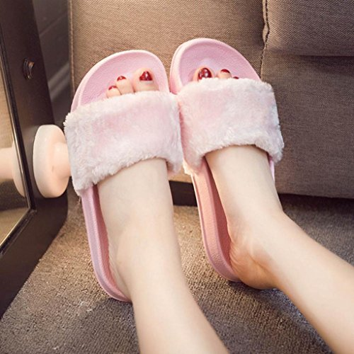 Byste Women Fluffy Faux Fur Flat Lace-up Shoes, Round Toe Shoes Slip On Sliders Shoes for Work School Shopping etc,Ladies Pink