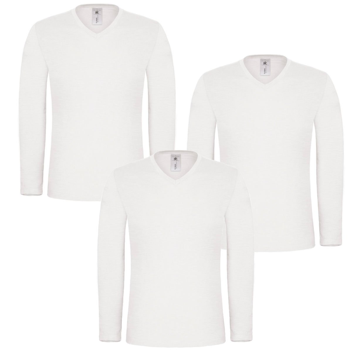 Style It Up Mens Long Sleeve T-Shirt 100% Cotton Base Layer V Neck Slim Fit Muscle Top Plain
