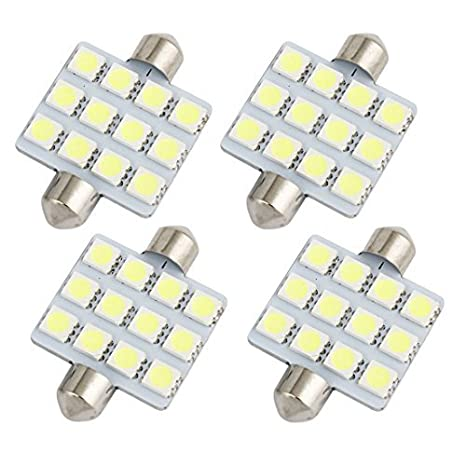 Amazon.com: eDealMax 4pcs 41mm 5050 SMD 12-LED Blanco bóveda del Adorno de la luz interna 560 6413: Automotive