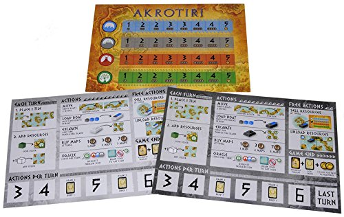 Deluxe Games and Puzzles AKROTIRI New Edition _ 2 Player Game _ Bonus 2 Gold Drawstring Storage Bags _ Bundled Items