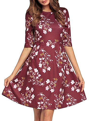 Flare 1 Party O Half Dress Print Women's Sleeve Jaycargogo Floral Neck qn6Rx00A