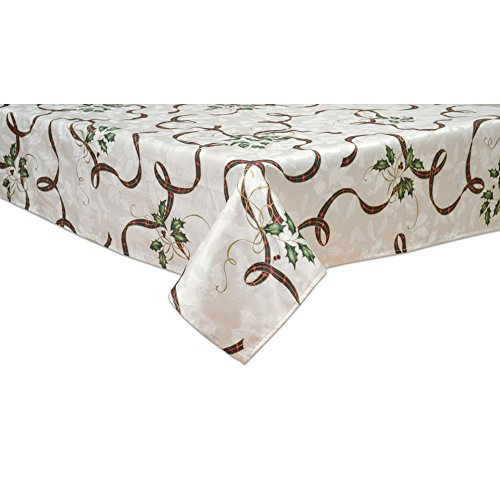 Lenox Ribbon - Lenox 7276102OBLMLT Holiday Nouveau Ribbon 60-by 102-Inch Oblong Tablecloth, 60