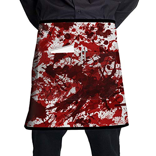 Halloween Scary Bloody Handprint Footprint BBQ Waiter Housekeeper Pet Grooming Bartender Kitchen Beautician Hairstylist Nail Salon Carpenter Shoeing Wood Painting Artist Pocket Half Apron -