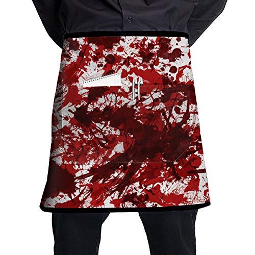 (Halloween Scary Bloody Handprint Footprint BBQ Waiter Housekeeper Pet Grooming Bartender Kitchen Beautician Hairstylist Nail Salon Carpenter Shoeing Wood Painting Artist Pocket Half)