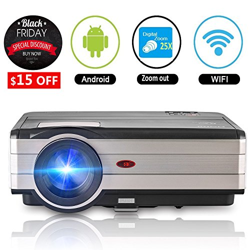 Wifi Projector HDMI, 3500 Lumen Home Cinema Theater Projector HD 1080P Support, Android Wireless Projector for iPhone Smartphone USB Gaming Movie Entertainment with 50,000hrs Led Lamp Speaker Keystone by CAIWEI