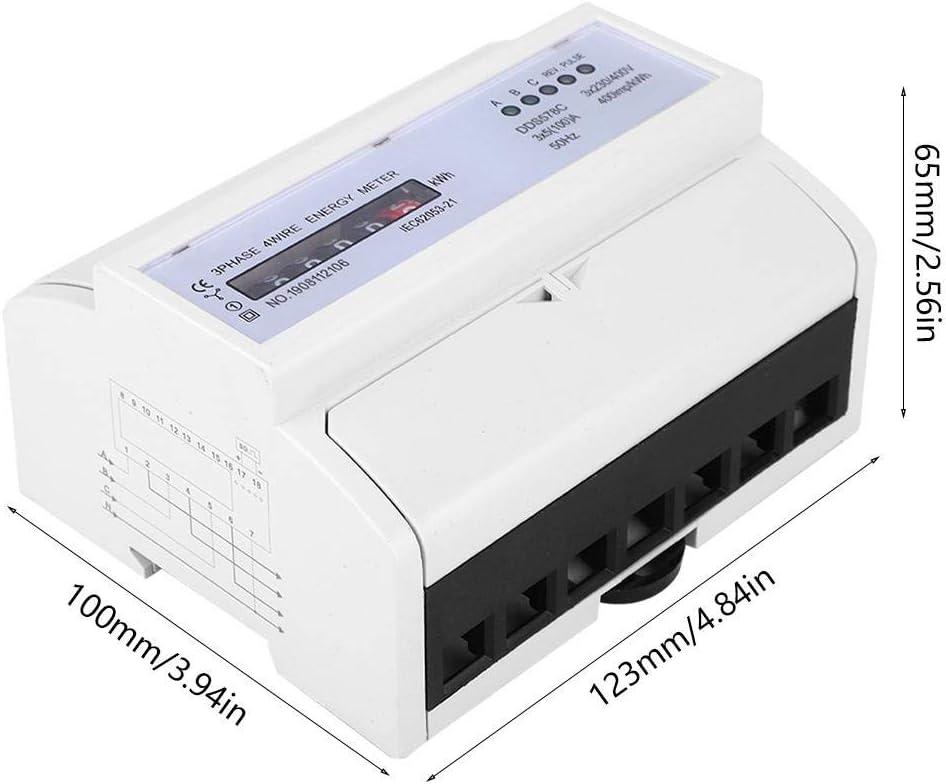 compteur de watt de rail DIN du compteur DIN dimpulsion de l/électricit/é 380V 3 m/ètre /électrique de fil de la phase 4