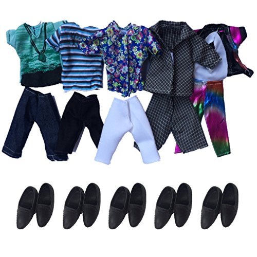 Doll Clothes, HONGTO 5 Sets Fashion Casual Wear Jacket Pants OutfitS+5 Pairs Black Shoes for Barbie's Boy Friend Ken Doll