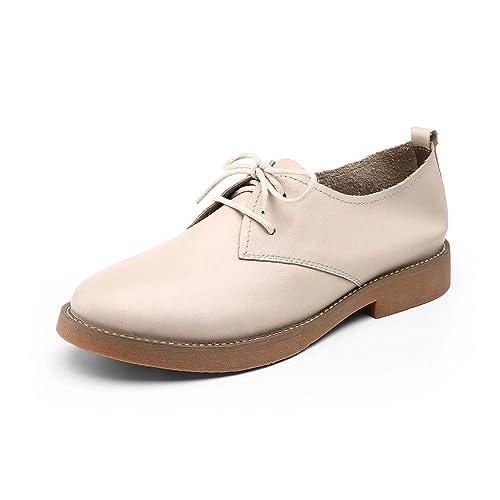 Q.VONTON Zapatos de Mujer Plataforma Mocasines de Cuero Genuino Zapatos Oxford de Cordones (