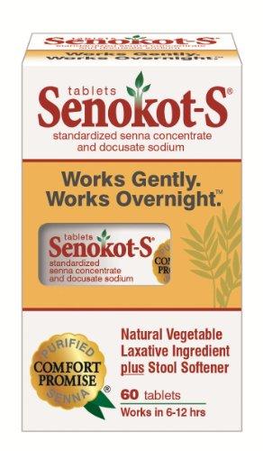 Senokot-S Natural Vegetable Laxative Ingredient Plus Stool Softener, Tablets, 60 tablets, Health Care Stuffs