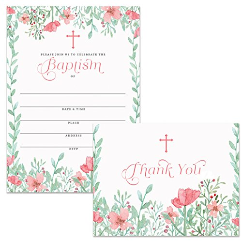 Baptism Invitations (25) & Matching Thank You Notes (25) Set Envelopes Included, Pretty Pink Infant Baby Girl 5 x 7
