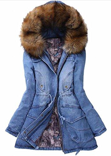 FLCH+YIGE Women's Parka Coat Faux Fur Hooded Zip Front Denim Classic Jacket 1 XL - Abercrombie Fur Jacket