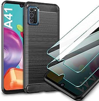 AROYI Funda Samsung Galaxy A41, [2 Pack] Cristal Templado, Carcasa Silicona Fibra de Carbono TPU Alta Resistente y Flexibilidad Fundas Cover Caso para Samsung Galaxy A41-Negro: Amazon.es: Electrónica