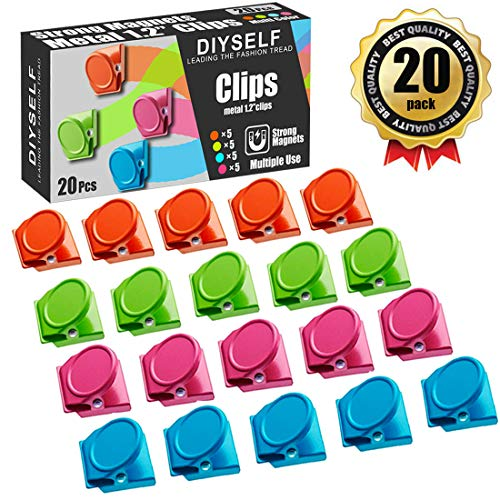 20Pack Magnetic Metal Clips Refrigerator Whiteboard Wall Fridge Magnetic Memo Note Clips Magnets Metal Clip