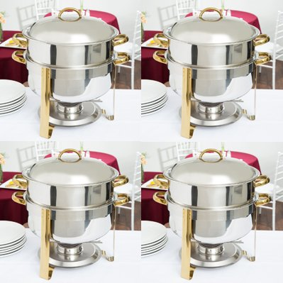 Soup Chafer,14 Qt. Deluxe Round Gold Accent Soup Chafer(PACK 4) (Deluxe Chafer)