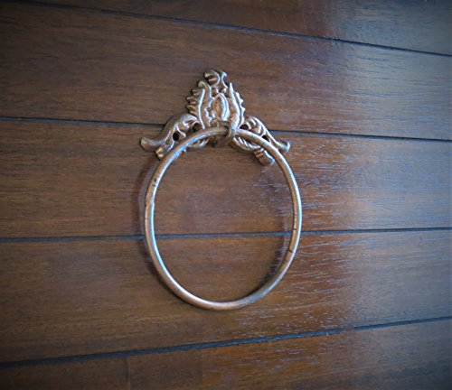 Vintage Farmhouse Style Towel Ring Aged Copper or Pick Color Solid Iron Hook for Shabby Cottage Chic Bathroom Powder Room - Fixture Aged Iron