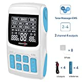 TENS Unit EMS Massage Combination Unit Muscle Stimulator for Pain Relief Arthritis Muscle Strength 8 Pads 2 & 4 Output Wires Batteries Include
