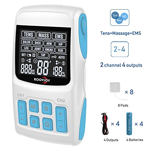 TENS Unit EMS Massage Combination Unit Muscle Stimulator for Pain Relief Arthritis Muscle Strength 8 Pads 2 & 4 Output Wires Batteries Include by ROOVJOY