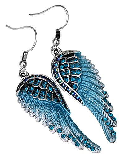 Angel Jewelry Women's Crystal Angel Wings Dangle Earrings ()