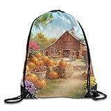 Autumn Pumpkin Flower Drawstring Bags Portable Backpack Pocket Bag Travel Sport Gym Bag Yoga Runner Daypack