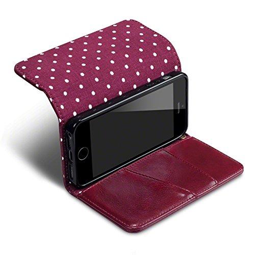 Coque Cuir iPhone SE, Terrapin Étui Housse Portefeuille avec Polka Dot Intérieur pour iPhone SE Housse - Rouge