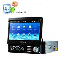 XTRONS Single 1 DIN Android 5.1 Quad Core 7 Inch Car Stereo Radio In Dash USB SD Player GPS Navigation Motorized Detachable HD Multi-Touch Screen 1080P